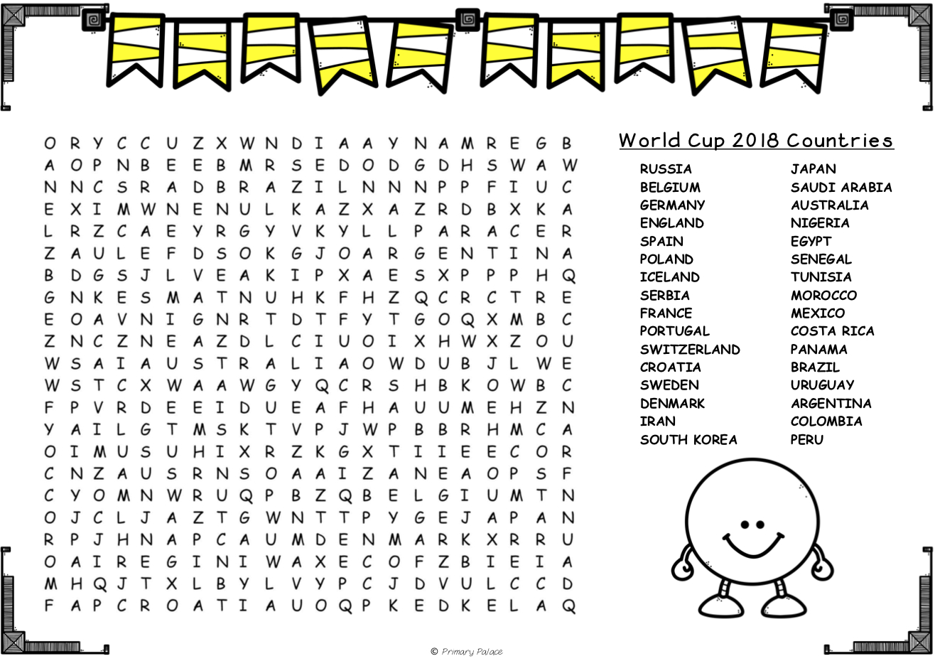 2018 Fifa World Cup Wordsearches – Mash.ie