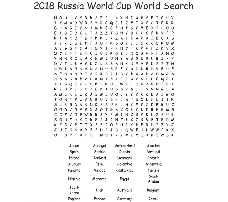 World Cup 2018 Word Search Printable