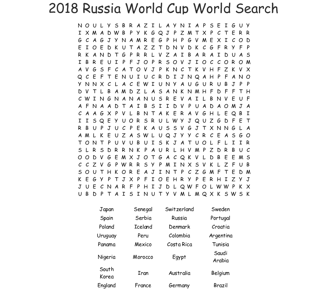 2018 Russia World Cup World Search Word Search - Wordmint