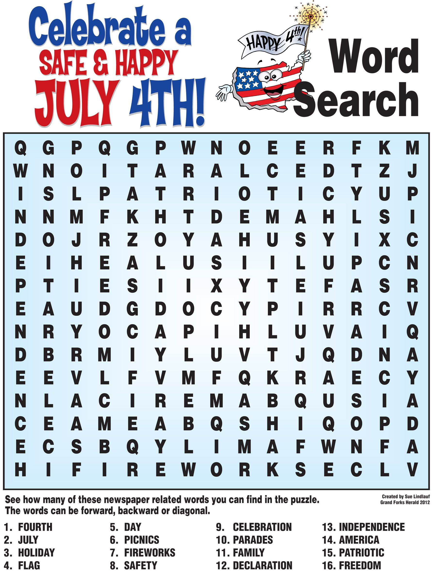 4Th Of July Word Search, History Quiz And More! | 4Th Of