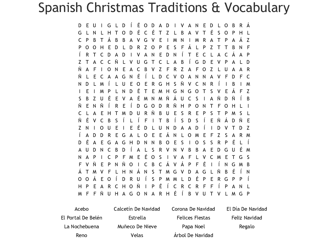 A Spanish Christmas Crossword - Wordmint
