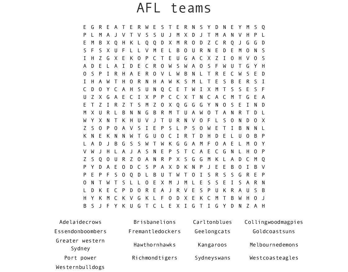 Afl Teams Word Search - Wordmint