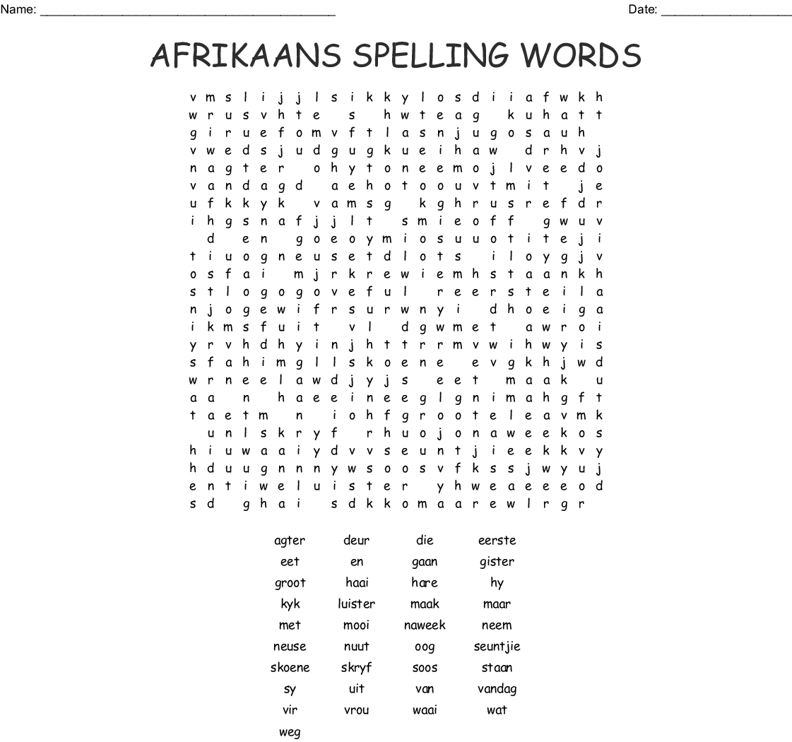 Afrikaans Language Crosswords, Word Searches, Bingo Cards