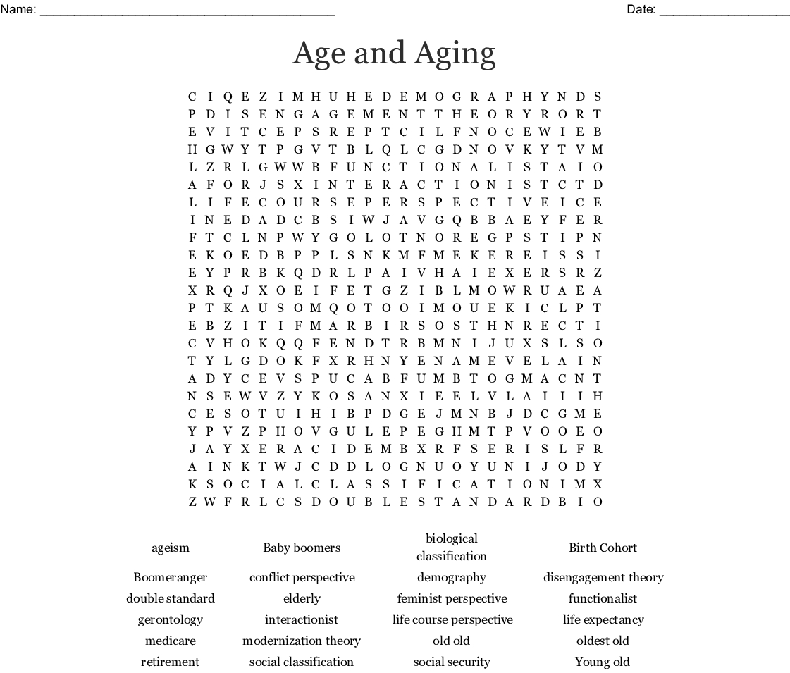 Age And Aging Word Search - Wordmint