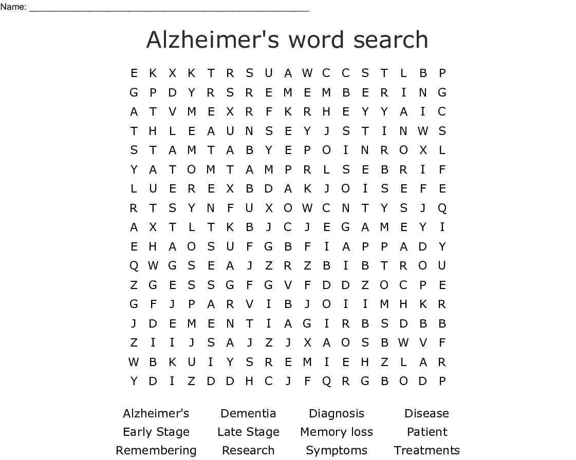 Alzheimer's Word Search - Wordmint