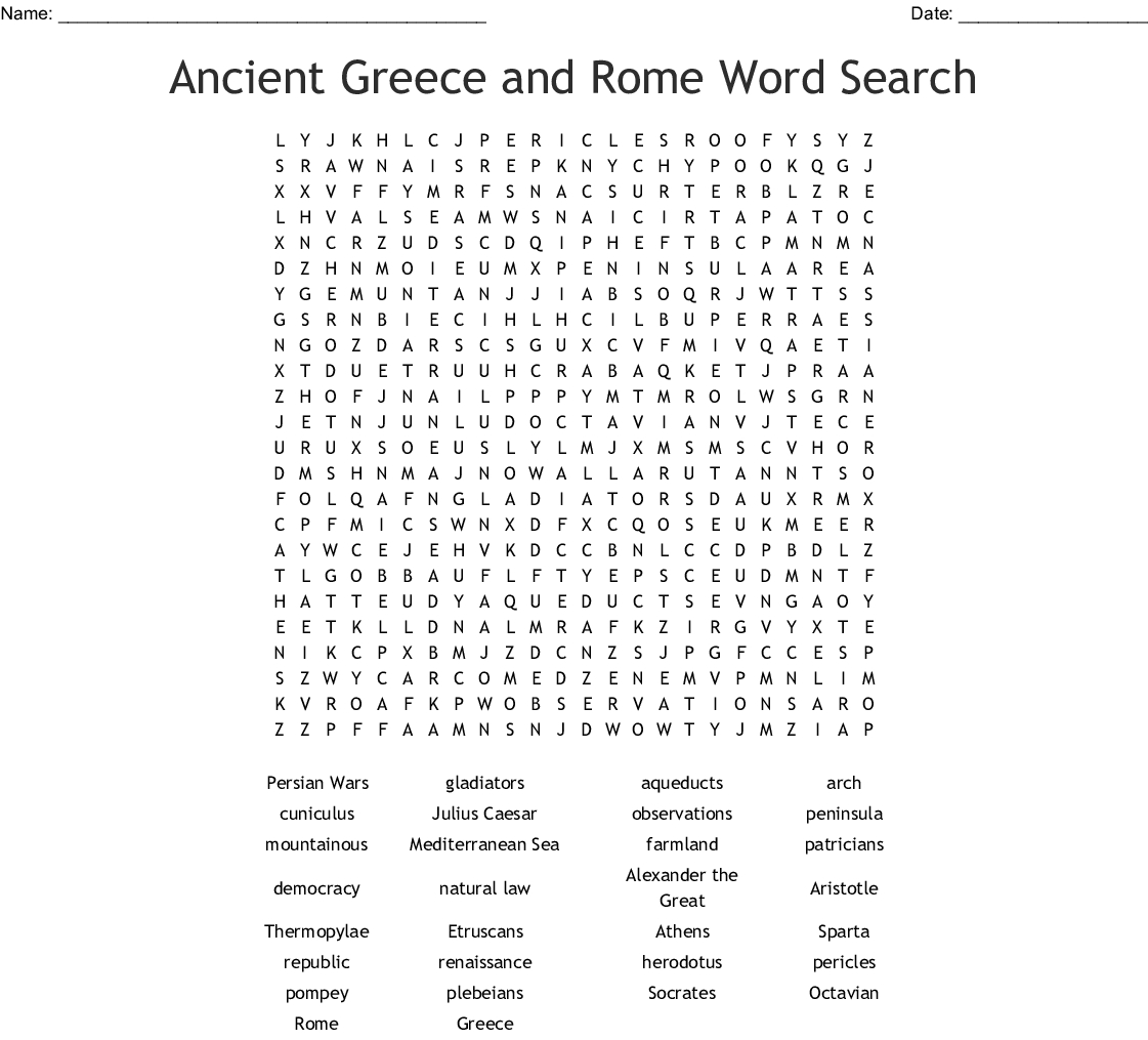 Ancient Greece And Rome Word Search - Wordmint