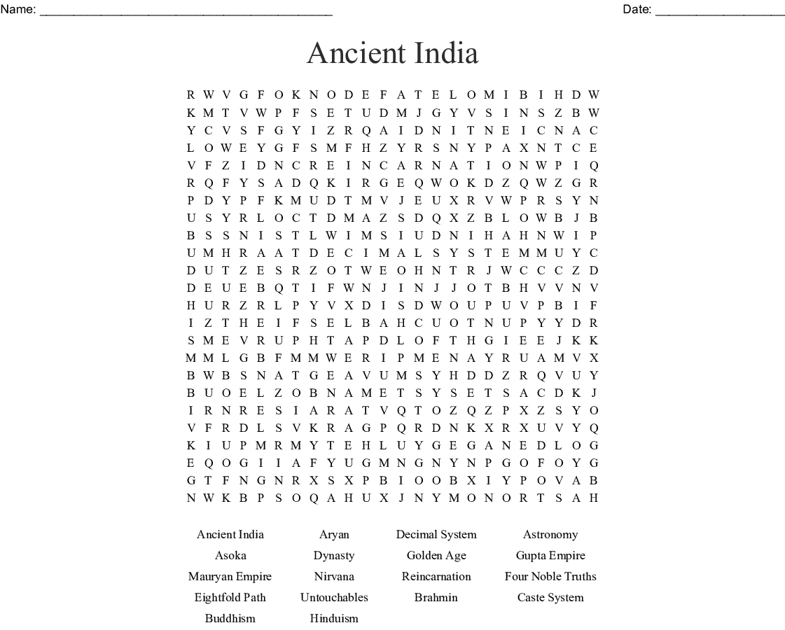 Ancient India Word Search - Wordmint