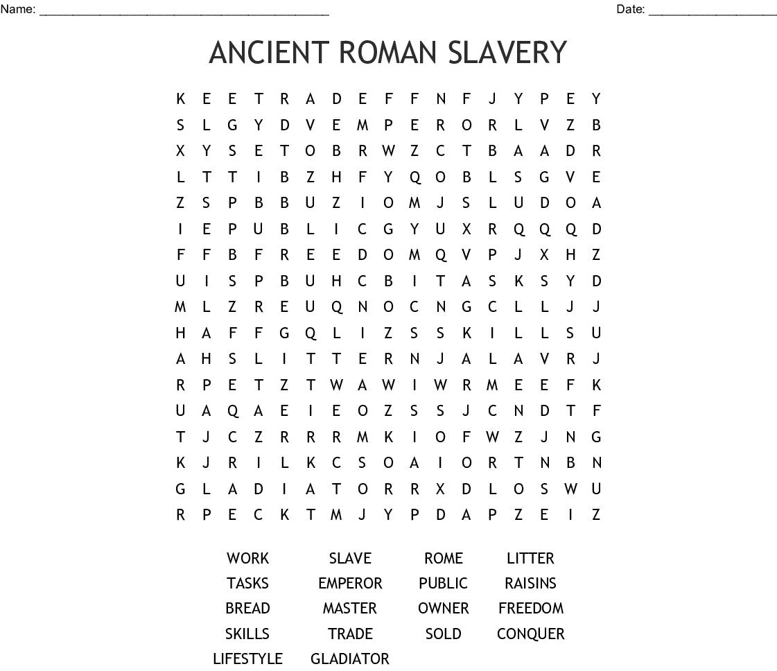 Ancient Roman Slavery Word Search - Wordmint
