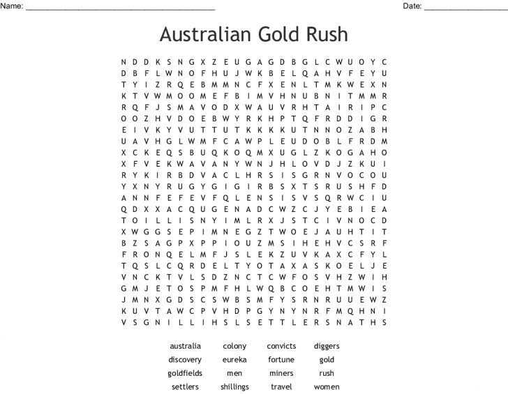 Australian Word Search Printable