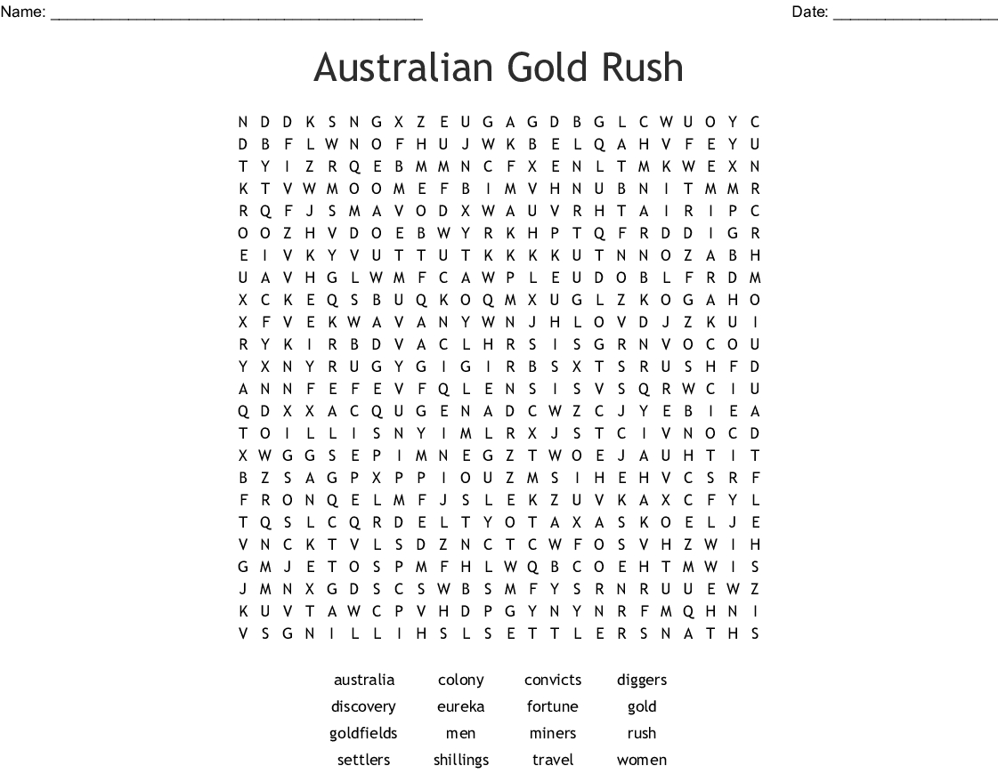 Australian Gold Rush Word Search - Wordmint