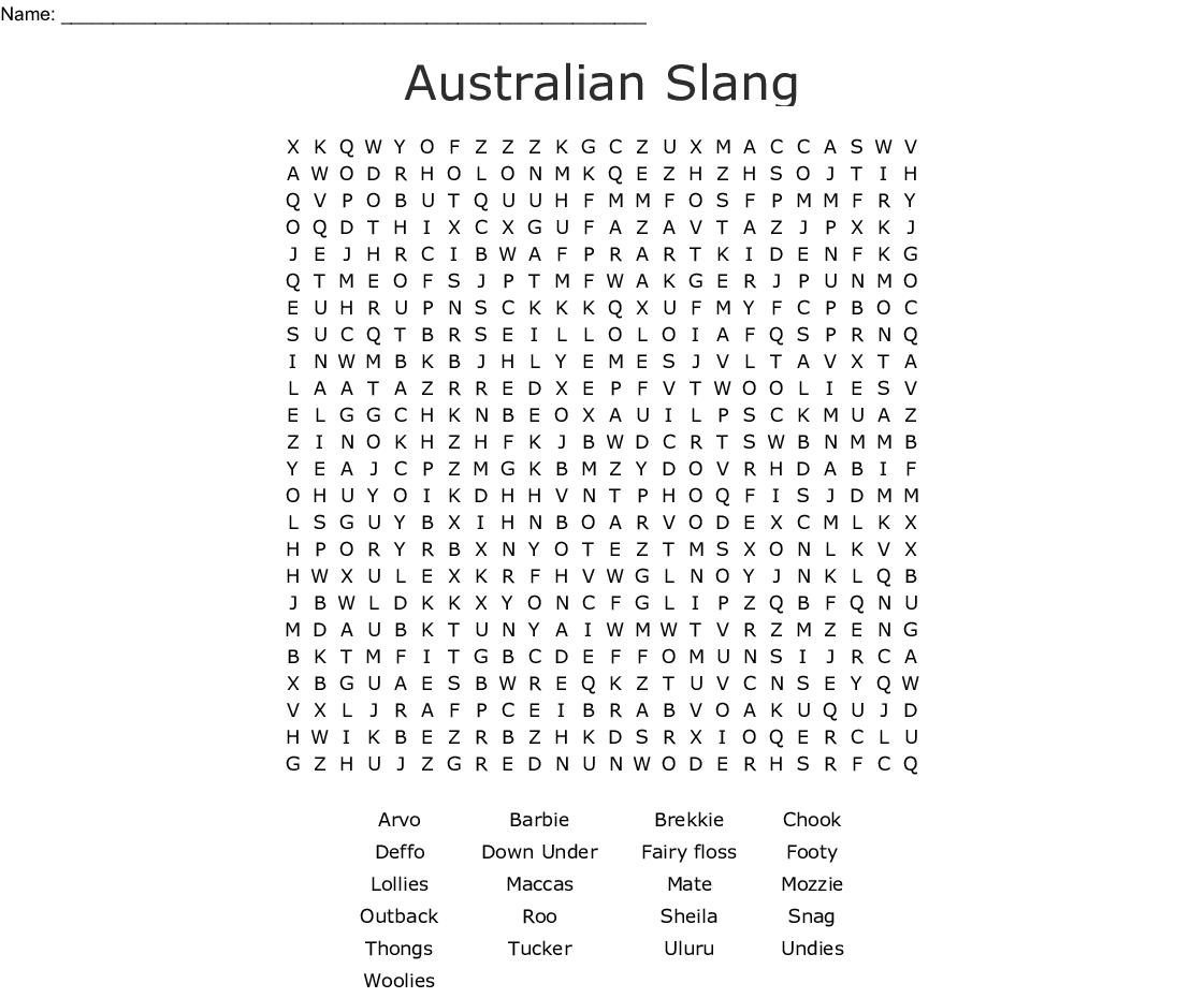 Australian Slang Word Search - Wordmint