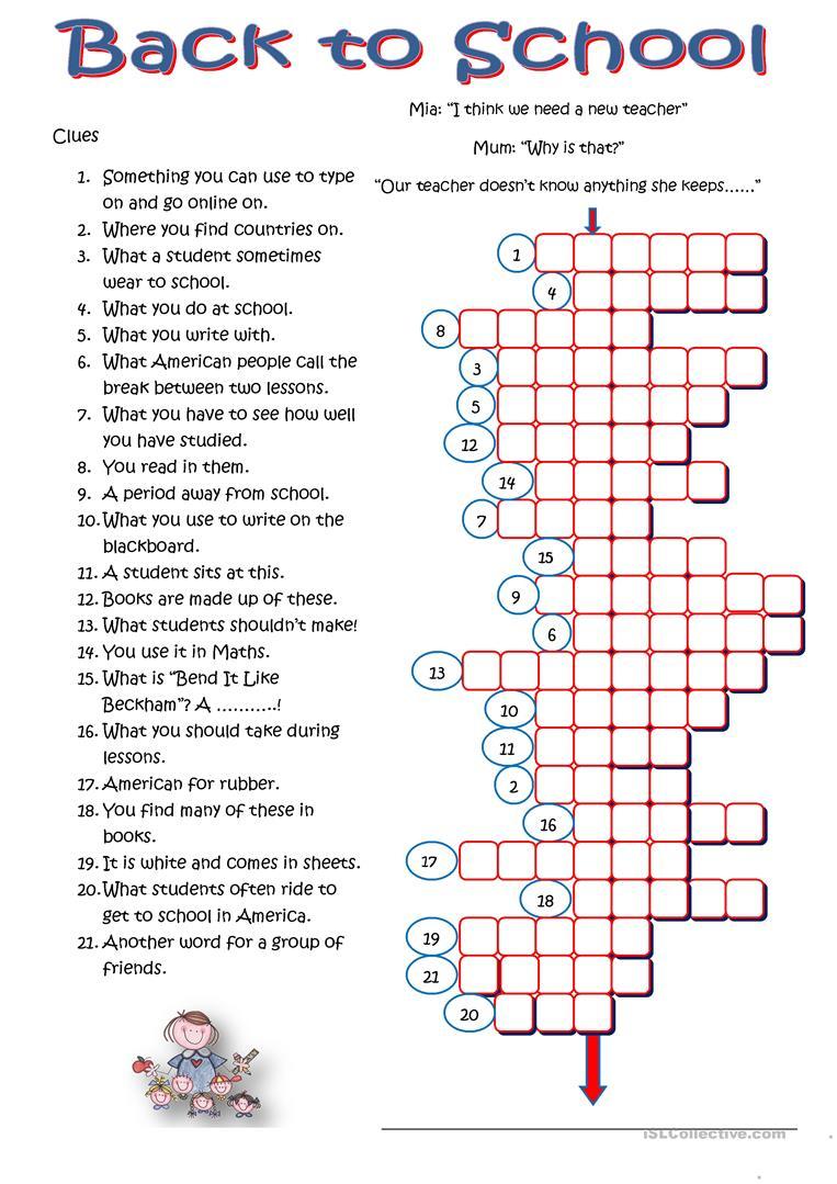 Back To School Crossword - English Esl Worksheets For