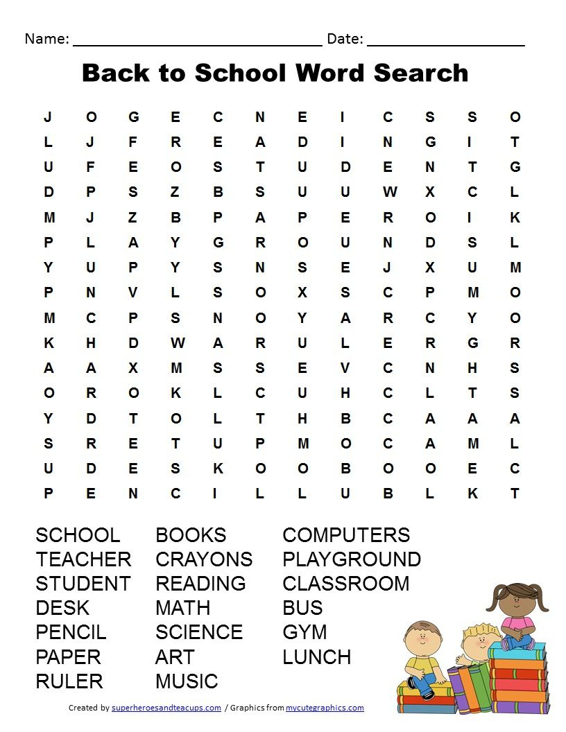 Back To School Word Search Free Printable | Back To School