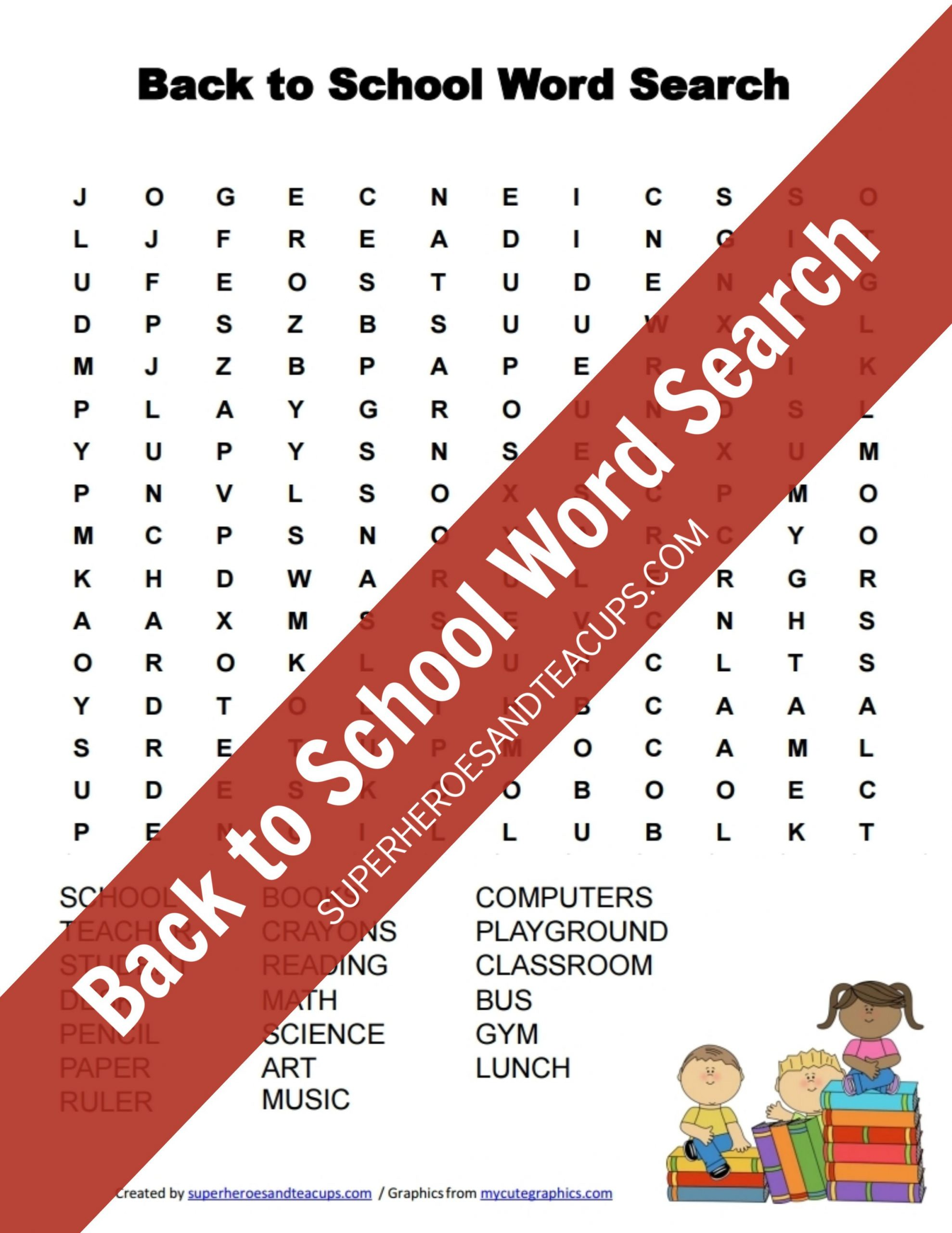 Back To School Word Search Free Printable | Superheroes And
