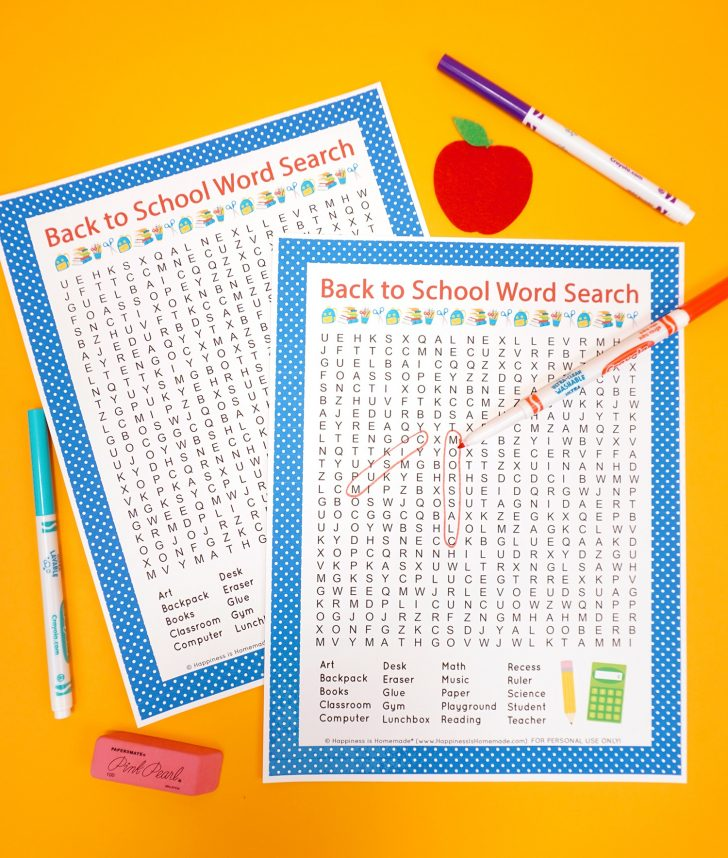 Free Printable Back To School Word Searches