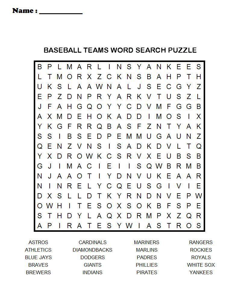 Baseball Word Search Puzzle See The Category To Find More