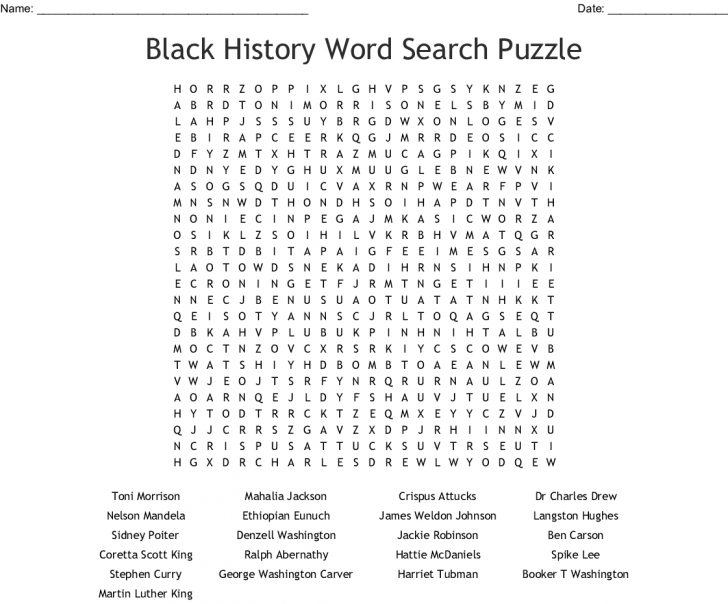 Black History Word Search Puzzles Printable