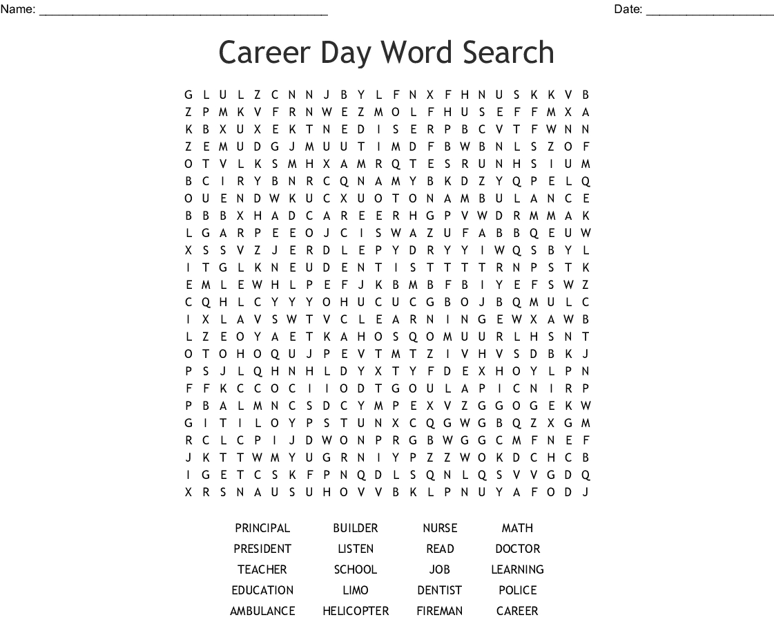 Career Day Word Search - Wordmint