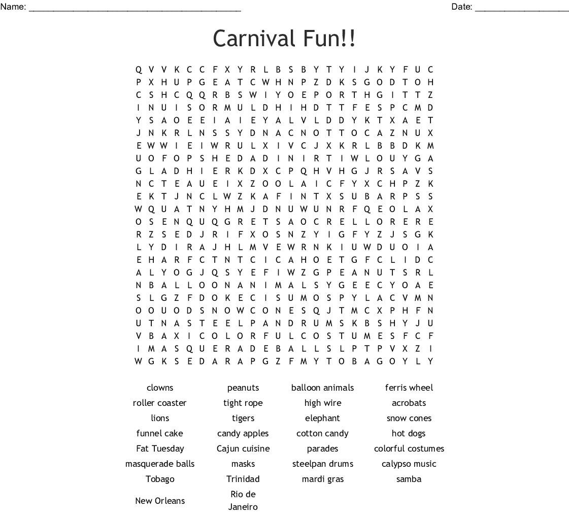 Carnival Fun!! Word Search - Wordmint