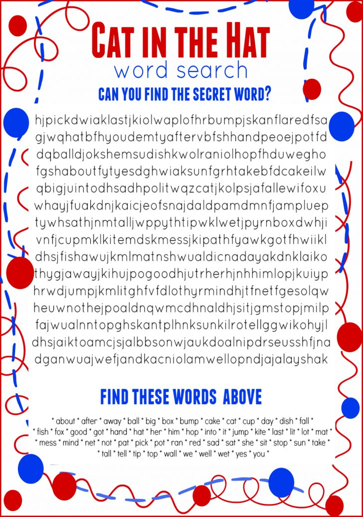 Dr Seuss Word Search Printable Free