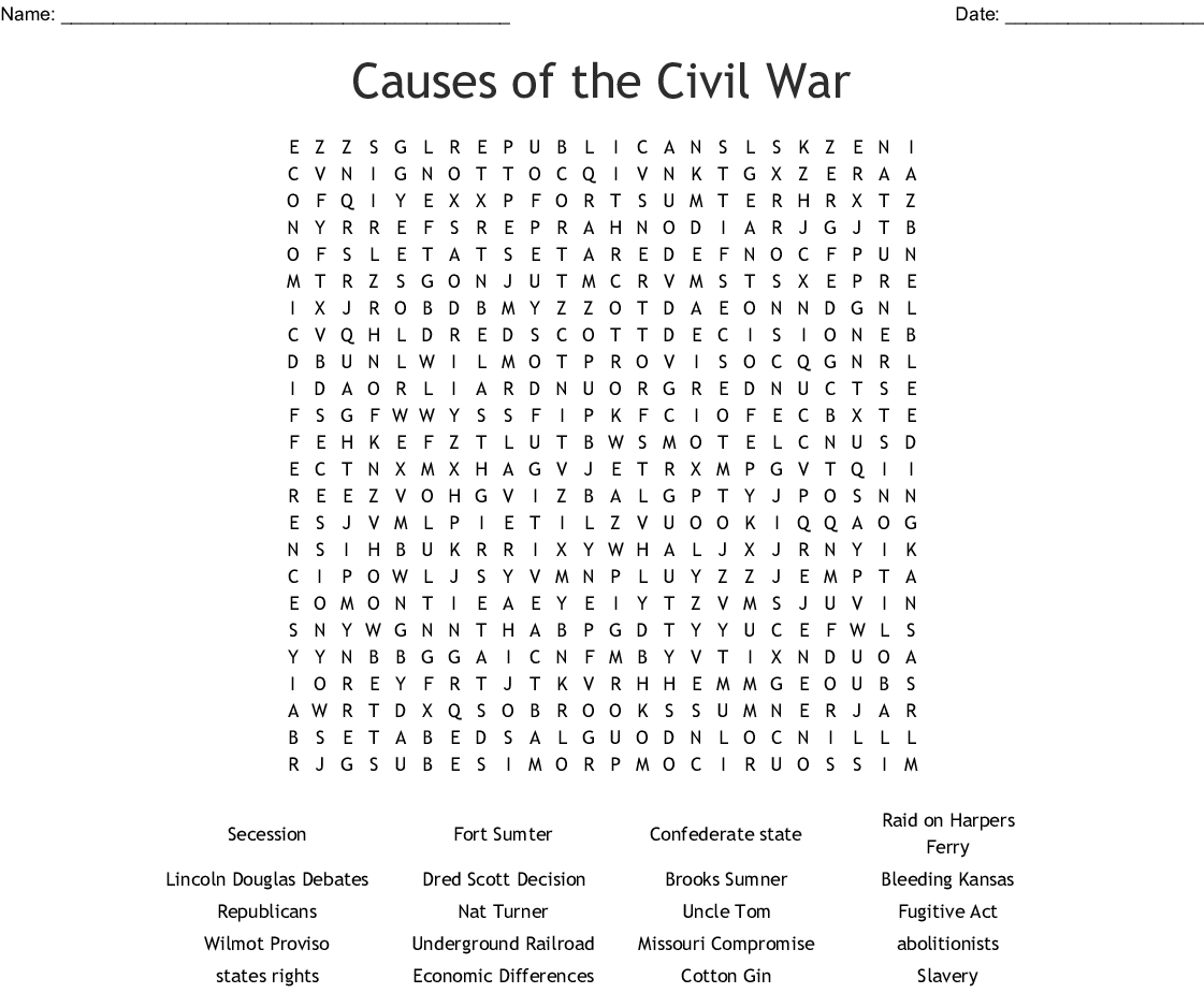 Causes Of The Civil War Word Search - Wordmint
