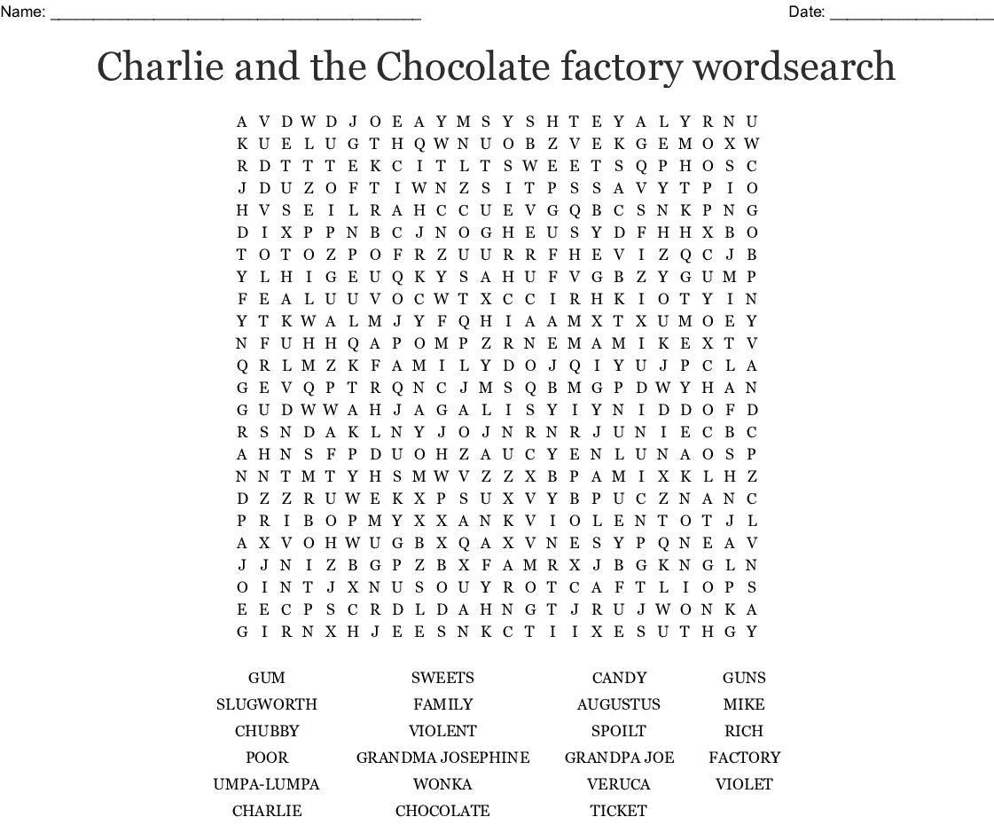 Charlie And The Chocolate Factory Wordsearch - Wordmint