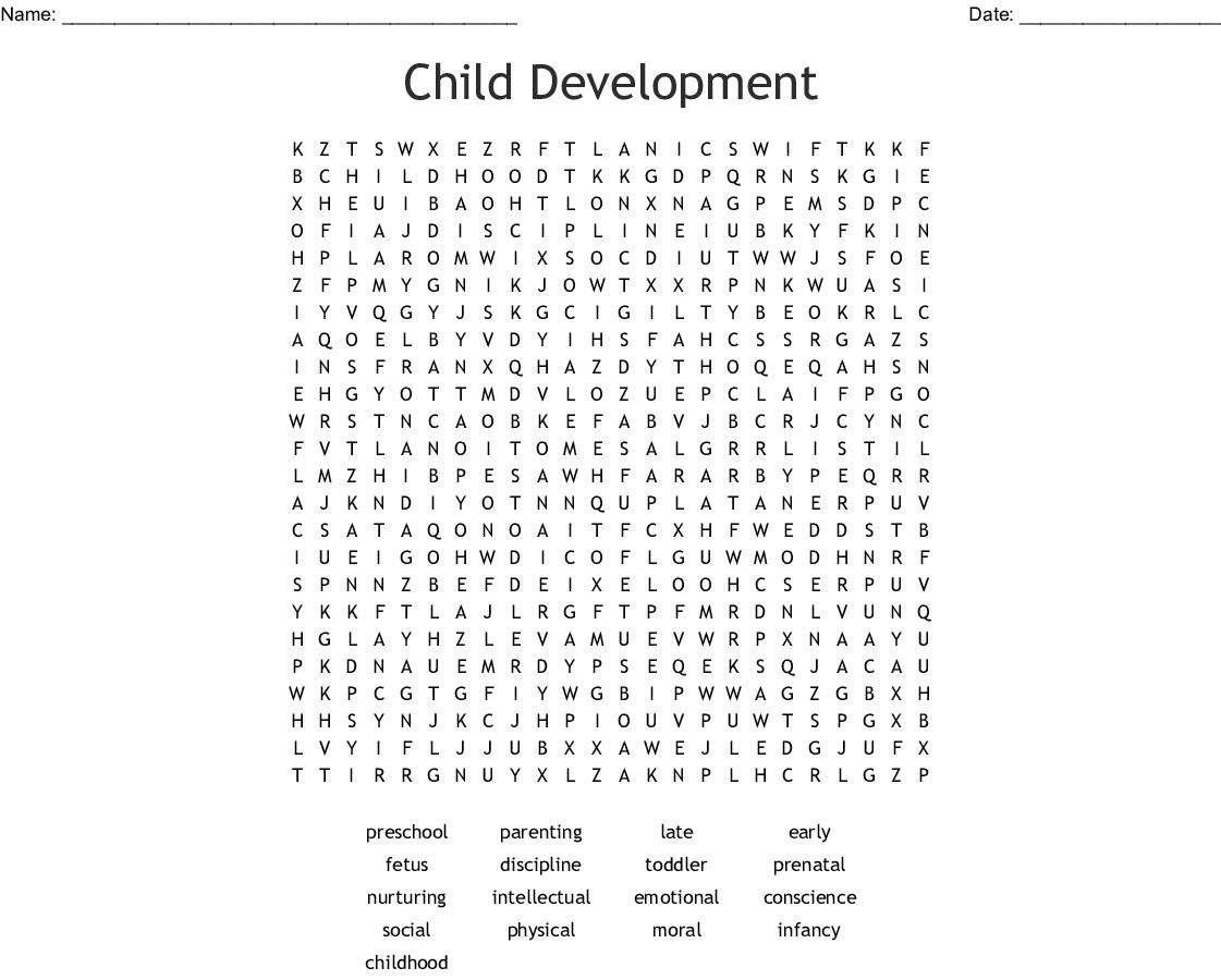 Child Development Word Search - Wordmint