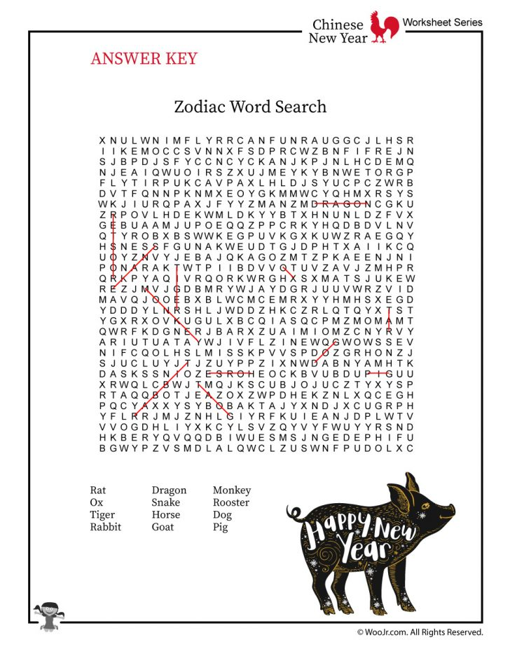 Free Printable Chinese New Year Word Search