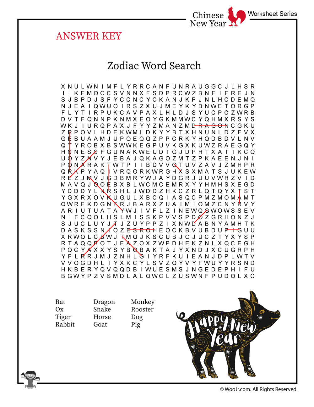 Chinese New Year Word Search - Answer Key | Woo! Jr. Kids