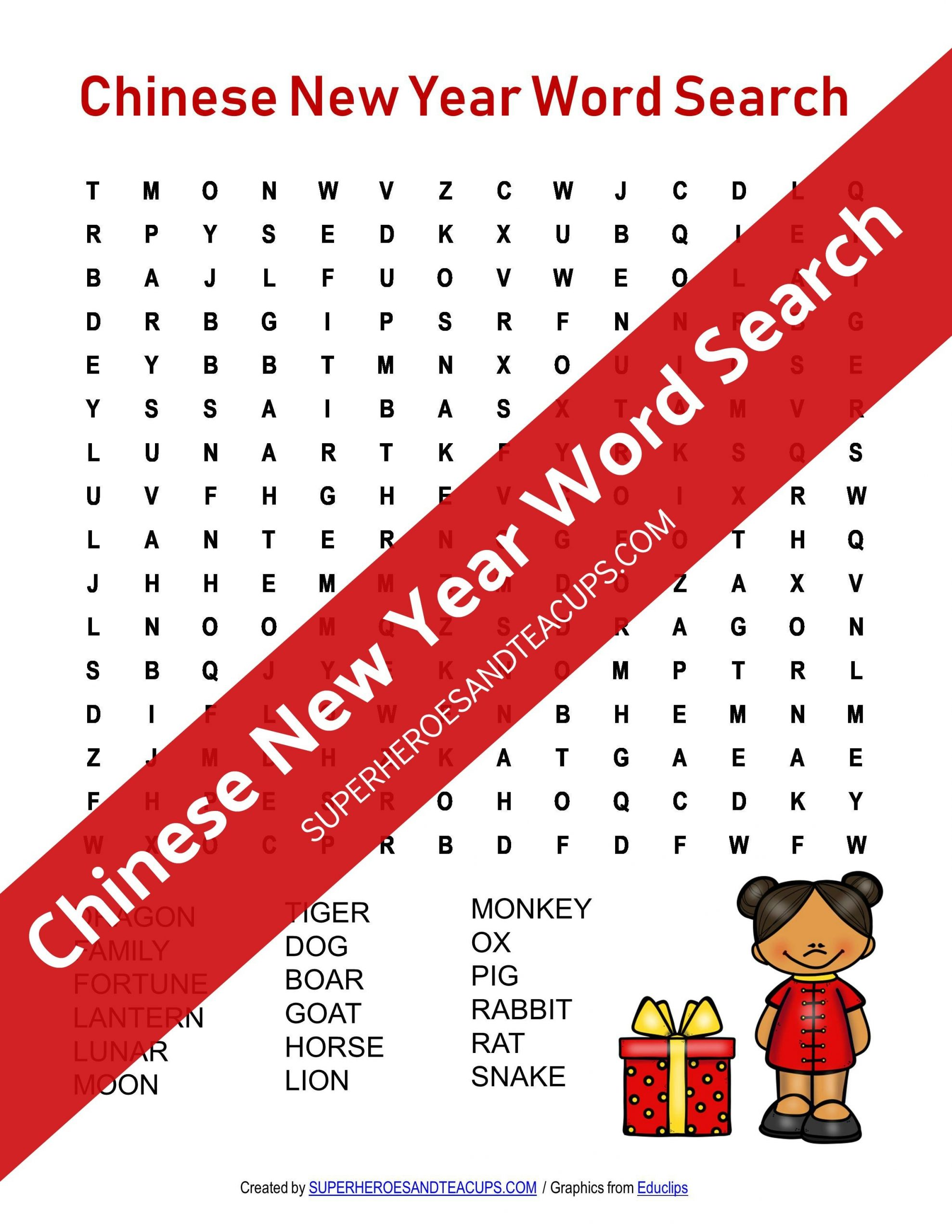 Chinese New Year Word Search Free Printable