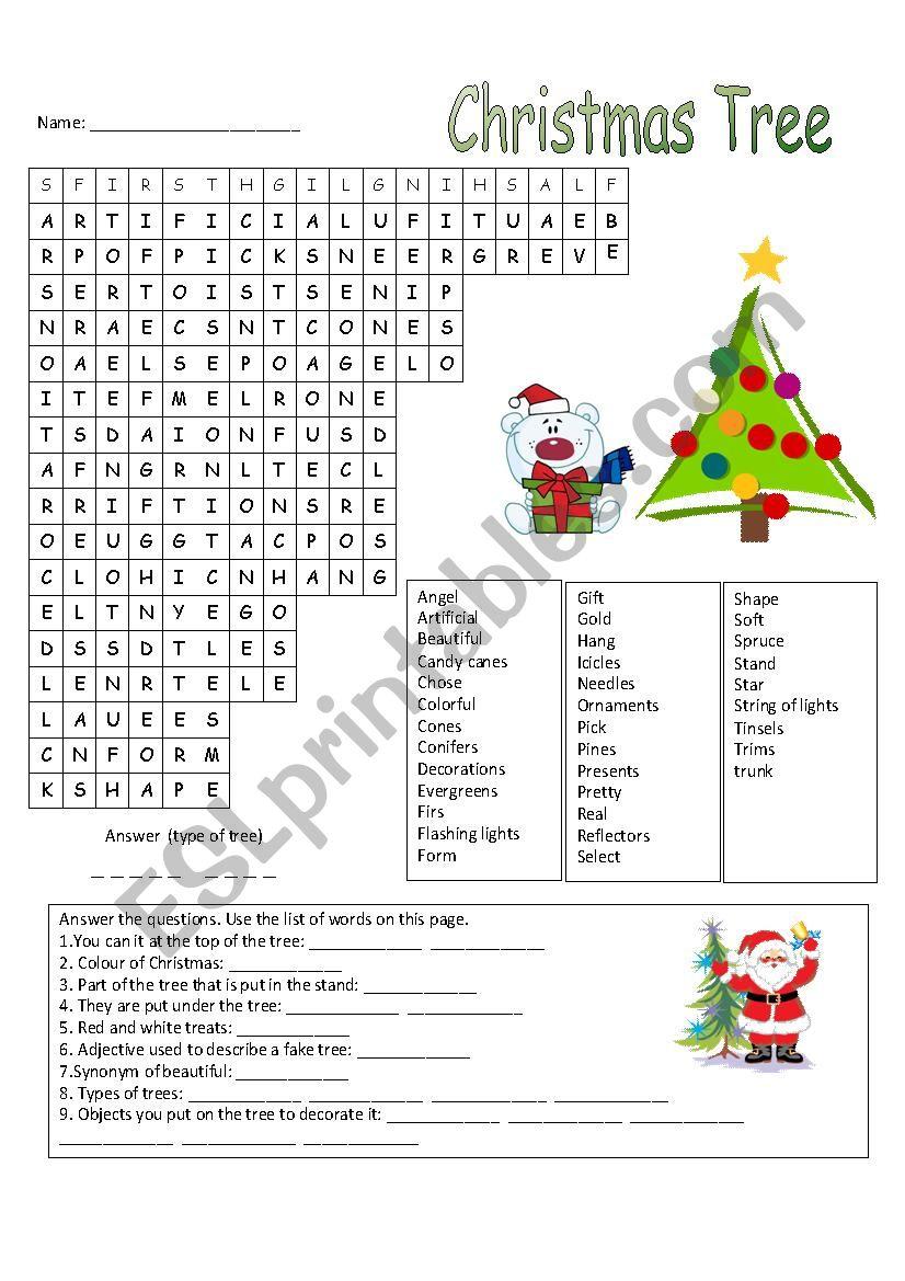 Christmas Tree Wordsearch - Esl Worksheetmanonski (F)