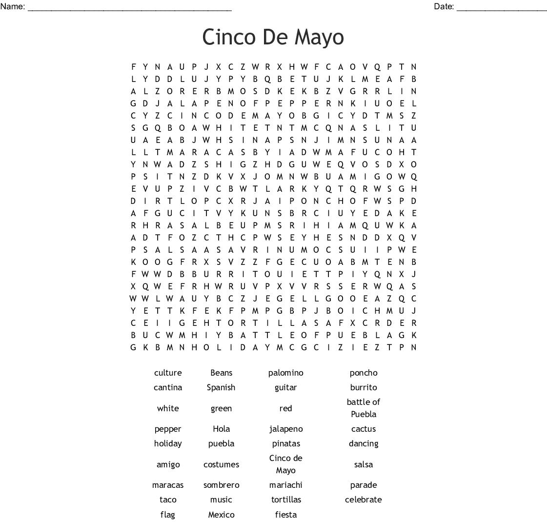 Cinco De Mayo Word Search - Wordmint