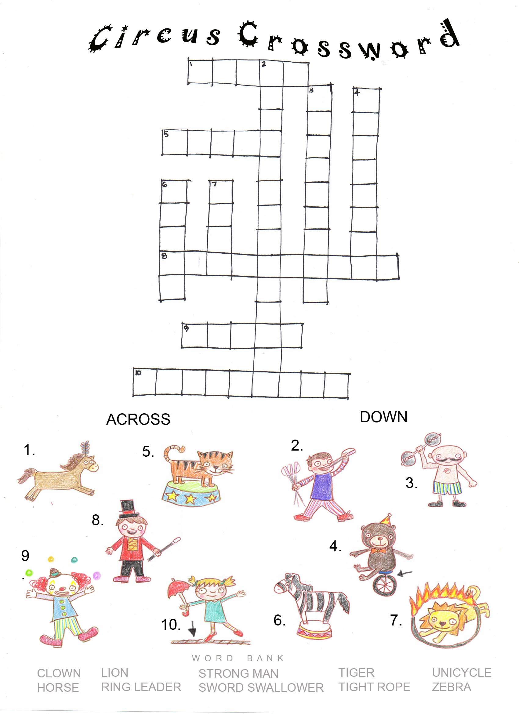 Circus Crossword | Articulation360