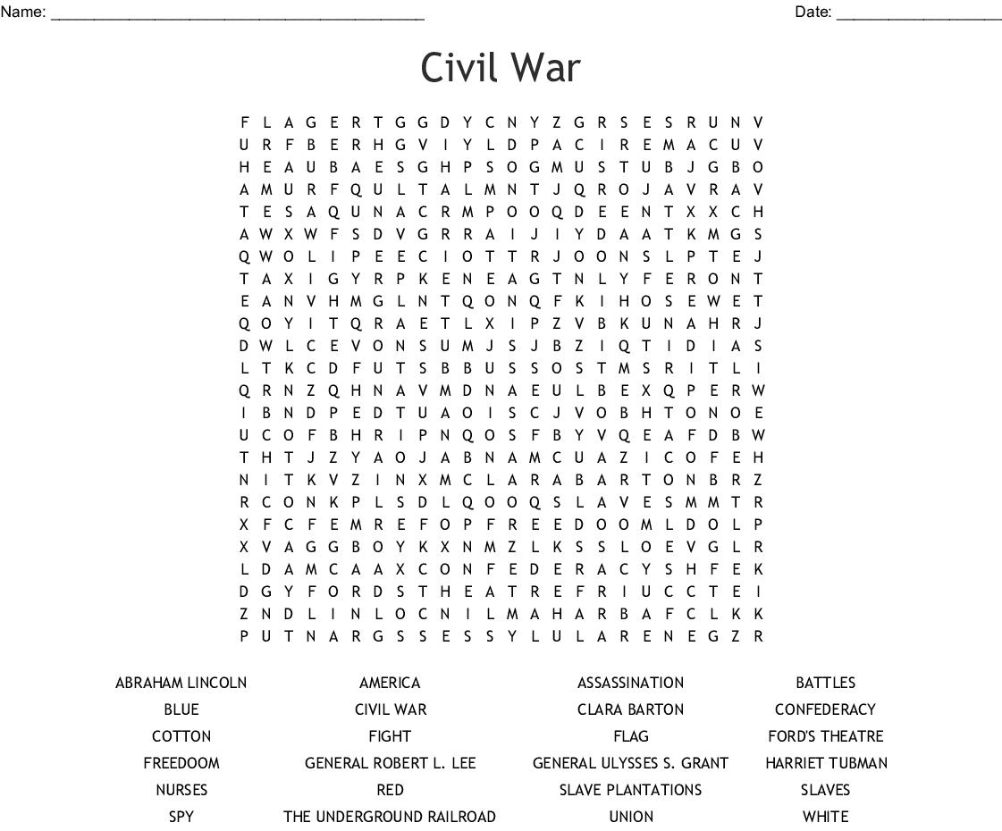 Civil War Word Search - Wordmint