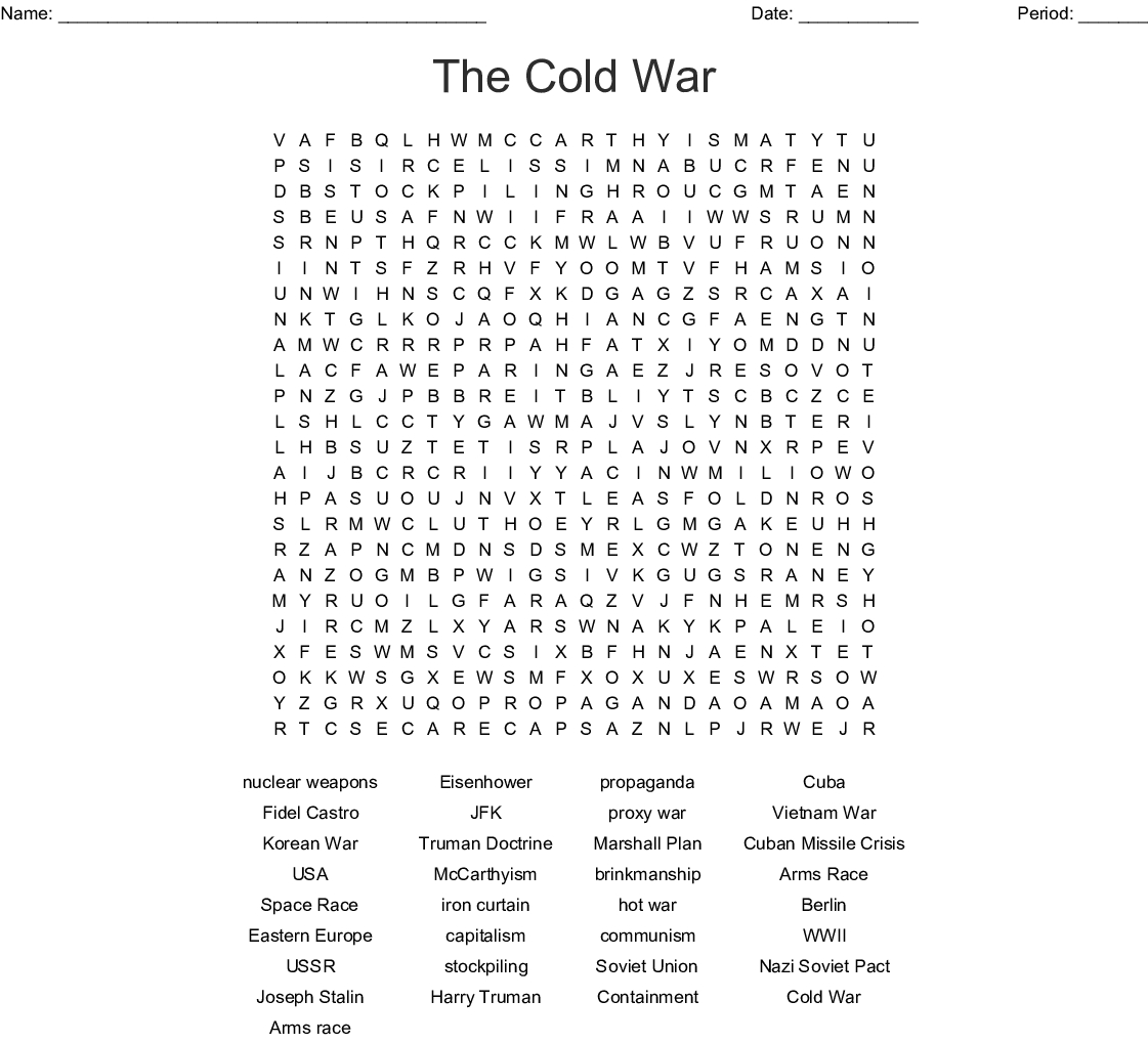 Cold War Word Search - Wordmint