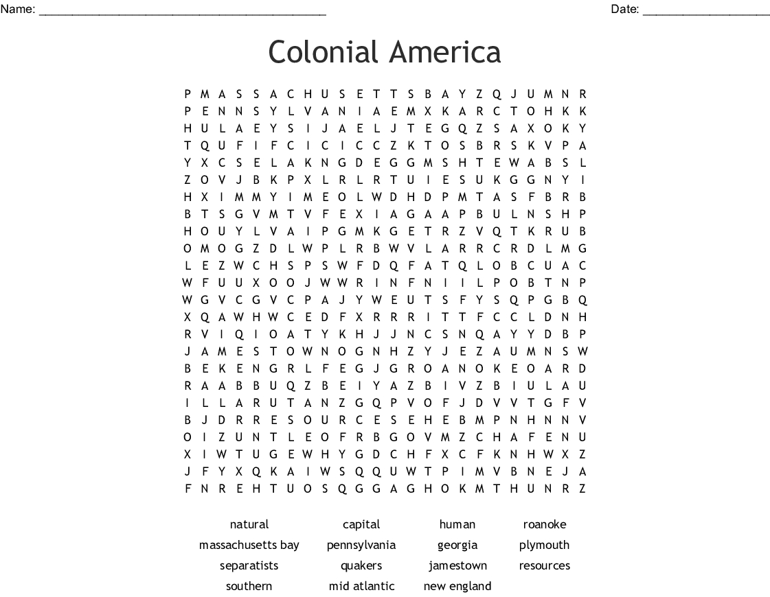 Colonial America Word Search - Wordmint