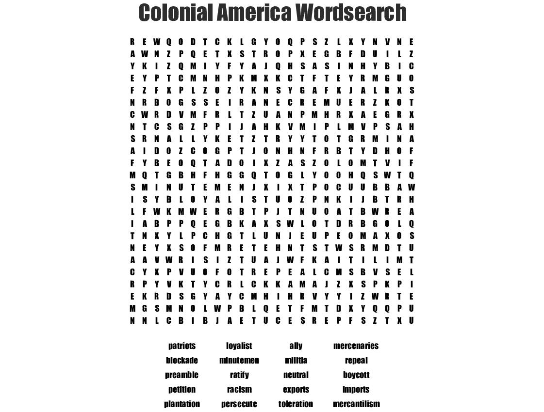 Colonial America Wordsearch - Wordmint