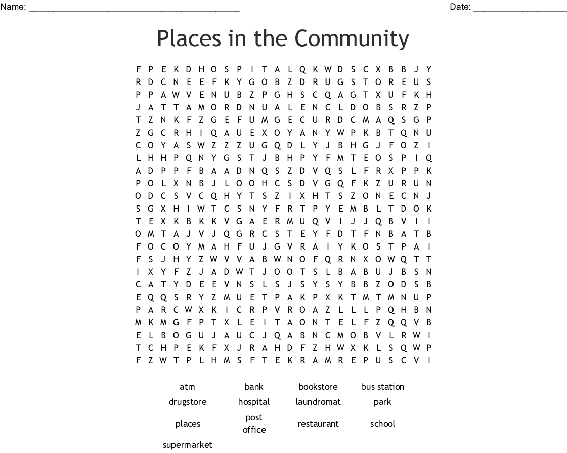 Community Places And Workers Word Search - Wordmint