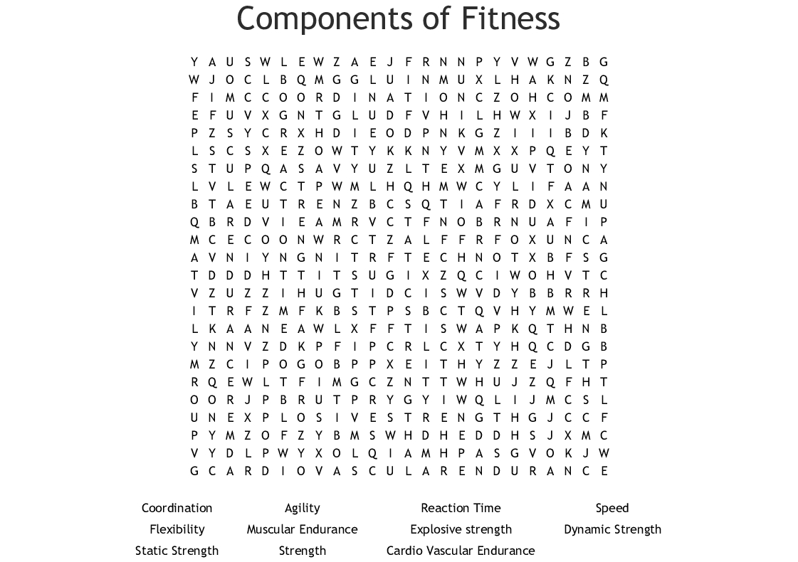 Components Of Fitness Word Search - Wordmint