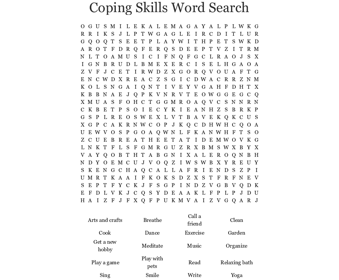 Coping Skills Word Search - Wordmint