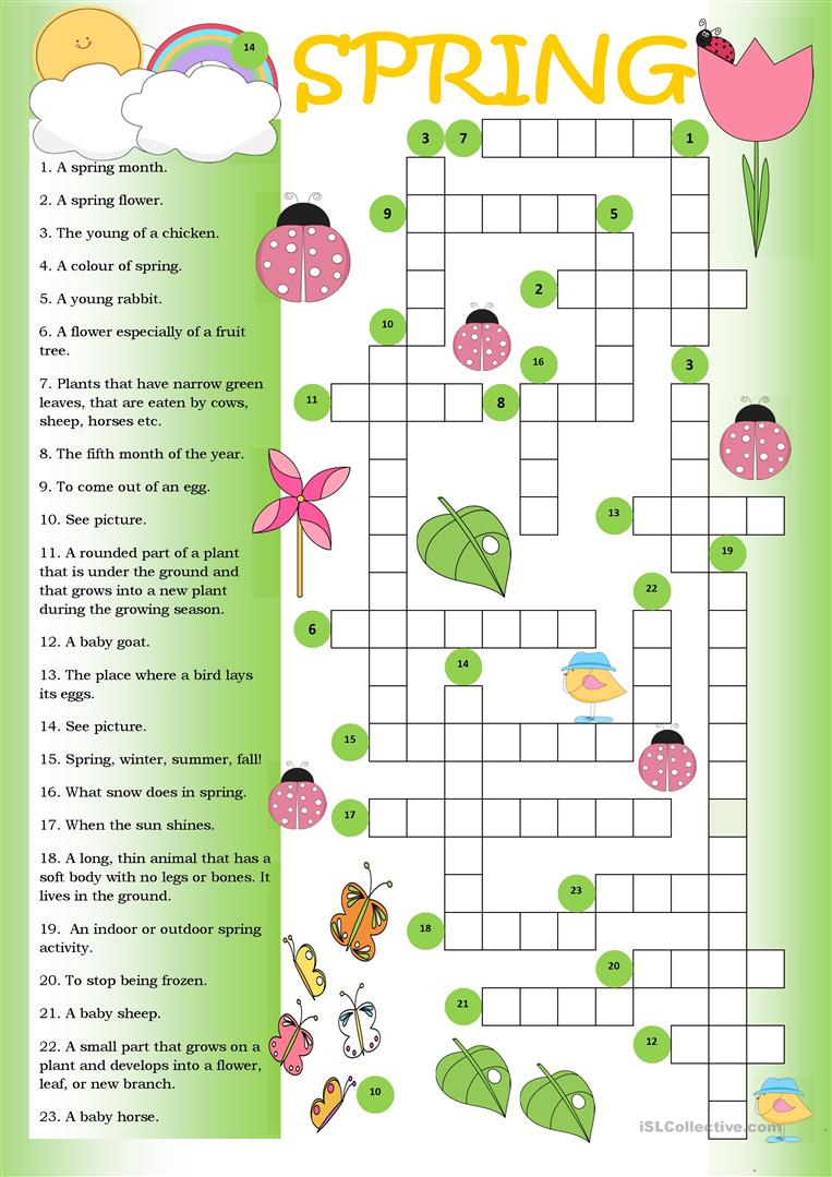 Crossword Spring - English Esl Worksheets For Distance