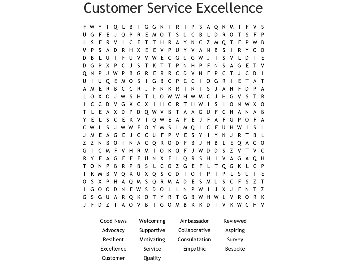 Customer Service Excellence Word Search - Wordmint