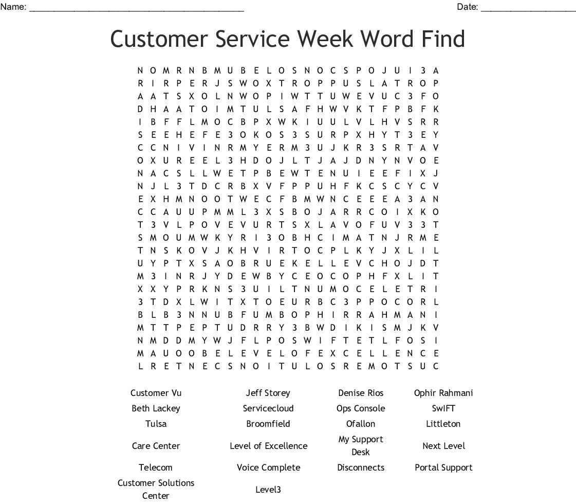 Customer Service Week Word Find Word Search - Wordmint