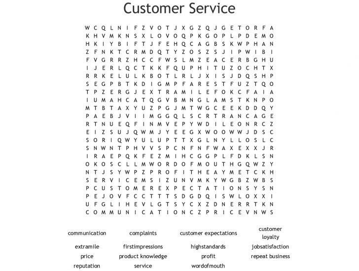 Customer Service Word Search Printable
