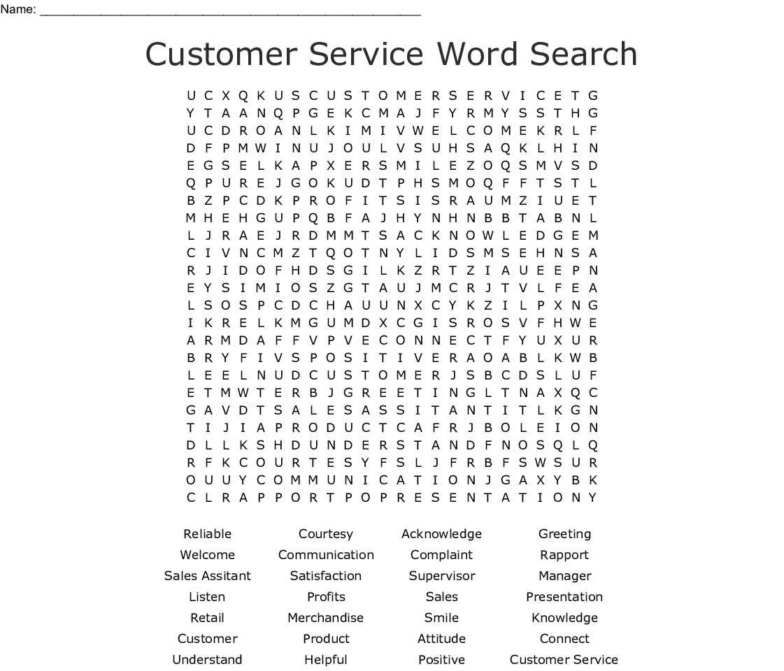Customer Service Word Search - Wordmint