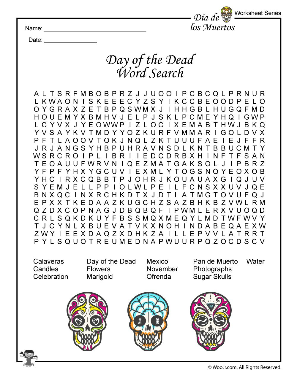 Day Of The Dead Activities, Worksheets & Lesson Plan | Day