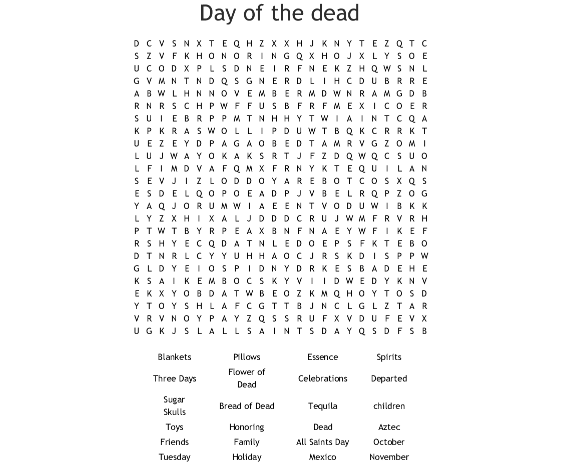 Day Of The Dead Word Search - Wordmint