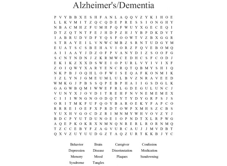Free Printable Word Searches For Dementia Patients