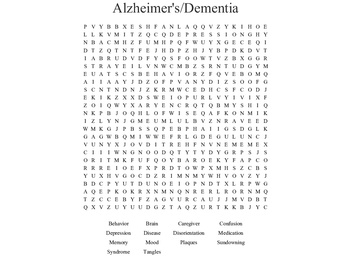 Dementia Word Search - Wordmint