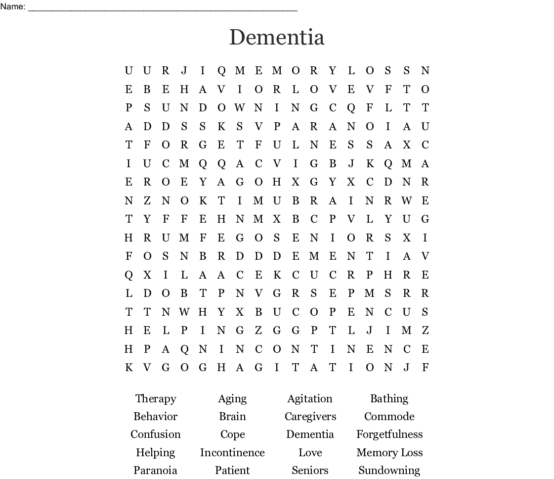 Dementia Word Search - Wordmint